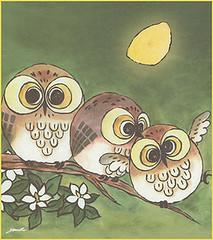 Cape jessamine and Ural owl (Japanese Flower and Bird Art) Tags: flower cape jessamine gardenia jasminoides rubiaceae ayaka sen modern shikishi japan japanese art readercollection bird ural owl strix uralensis strigidae