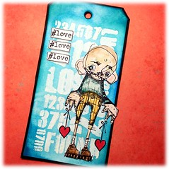 Arttag Spreading love by Newton (Stampinkie) Tags: rubberstamping taglove arttag tagart stampotique distressink