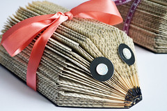 Handmade Book Page Hedgehogs (capstick13) Tags: hedgehog animal pet garden craft hanmade handcrafted books recycled pages old reused project pinterest ribbon gift ideas