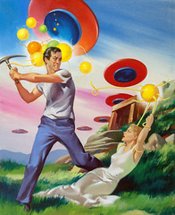 The Buttoned Sky, Imagination magazine cover, August 1953 by Harold W. McCauley (Tom Simpson) Tags: thebuttonedsky imagination magazine cover 1953 haroldwmccauley alien illustration vintage man woman pickaxe capture kidnap kidnapping abduction 1950s scifi scifiart sciencefiction painting