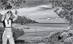 Play Time (Brett Huch Photography) Tags: australia aussie queensland qld northqueensland beach bw bikini girls portraits water waves wavesbreaking seascape seascapes sea surf sky