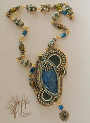 fern's dreams_3 (~Gilven~) Tags: bead beads beading beadembroidery naturalleather necklace pendant japanesebeads jewelry jewelryfindingsbyannachernykh apatite czechbeads blue green gold fern foggyforest forest