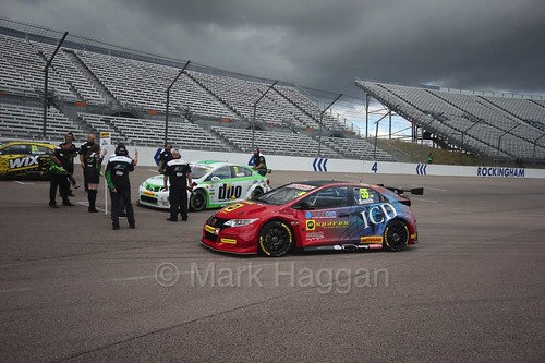 Jeff Smith heads on to the grid at Rockingham, August 2016