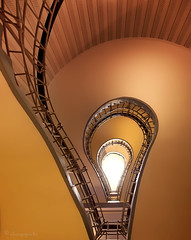 eureka (cherryspicks (intermittently on/off)) Tags: wow prague staircase bulb architecture cubist indoor hotcolor czech historic perspective angle travel eureka light lighting minimalist