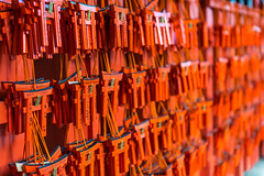 Small torii with prayers and wishes at Fushimi Inari Shrine (basair) Tags: kyotoprefecture kyotocity fushimiinarishrine japan shrine shinto colorimage temple placeofworship spirituality religion famousplace vibrantcolor day buddhism outdoors honshu asia red background wallpaper kyoto placesofworship orange buildingexterior photography inari toriigate cultures tourism old tunnel gate templebuilding ancient diminishingperspective journey eastasianculture tokyoprefecture prayer god wishes japaneseculture souvenir gift defocused