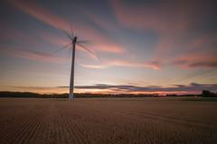 Aberford Wind Turbine Sunset (RichRobson) Tags: windpower wind turbine aberford leeds long exposure sunset nohaybales