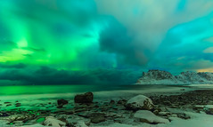 Being Given the Green Light (Jerry Fryer) Tags: outdoor norway lofoten sea coast beach aurora northernlights snow nightscape sky water green clouds winter rocks boulders mountains surf night light canon 6d ef1635mmf4l arctic