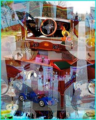 Drivin At Ma Desk ............ Desks (Joe Vance aka oliver.odd) Tags: art artistic abstract surreal blending vision fading spectators drivin desk cars ladies optional treatment stressed face beauty chaos