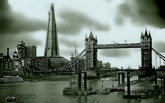 We believe  we tame cities, actually they tame us. (Marie.L.Manzor) Tags: london uk england europe cityscape river sky monochrome marielmanzor bridge towerbridge thames wow 2016 1000favs 1000favorites