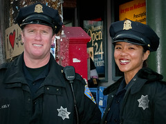 San Francisco cops (stefanws) Tags: officer uniform face portrait sanfrancisco streetphotography urbanstreet cops friendly man woman california police smile