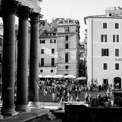 Pantheon Columns and People On Piazza della Rotonda Rome (futurepics) Tags: rome italy 30mm eos canon 50d pantheon columns people piazzadellarotonda piazza della rotonda buildings architecture place facades streetlife windows city europe european holiday italian outdoors outside photo photography summer summertime tourism tourist travel traveler vacation visiting