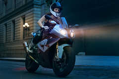 Moto (Buccianti) Tags: woman girl bike moto motorcycle sport urban street retouching retouched retouch photoshop nikon d810 50mm elinctrom rotalux strobist godox ad600 racing race night dark blue