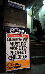 United States of Weapons (Francesco | Ceron) Tags: street uk england london station vertical photography evening newspaper cross steps headline charing standard viaggi londra obama vacanza londonstreets efs1755mmf28isusm