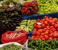 Market place in Bodrum. (Tulay Emekli) Tags: vegetables turkey beans market cucumber tomatoes marketplace zucchini redpepper bodrum marketstall marketstalls redbeans freshproduce eggplants domates fasulye hyar kabak sebze krmzbiber patlcan barbunya zerzevat panasonicdmctz20 yalkavakpazar