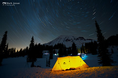 Winter Night in Paradise (mj.foto) Tags: longexposure camping winter night nikon paradise tent mountrainier mountrainiernationalpark msr startrails distagon 21mm carlzeiss dragontail deadhorsecreek 2013 d700 markjosue