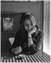 Eli 2 - Cafe (San Panteno) Tags: portrait bw girl analog mediumformat alone negative   fortepan400 mamiyarz67