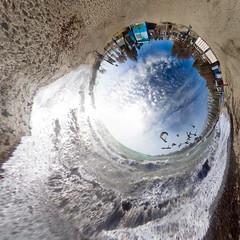 A Splash of Beauty (amfipolos) Tags: sea sky panorama sun beach photoshop sand waves 360 athens panoramic greece splash sonycybershot polarcoordinates alimos παραλία littleplanet polarpanorama ringworld αθήνα stereographicprojection κύμα άλιμοσ pixelbender reversedplanet