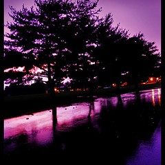 Rainy Evening in Baltimore with Purple Sunset