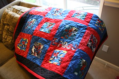 Spider-Man Quilt for Brady (Crazy Quilt Lena) Tags: blue boy red man spider crazy comic quilt spiderman lena superhero marvel applique 2013 feb18