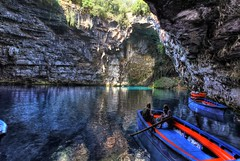 Next up (Elios.k) Tags: blue girls light vacation two people lake color travelling tourism water colors horizontal boats island three boat women tour tourists clear greece opening cave geology kefalonia hdr highdynamicrange sami melissani karavomylos