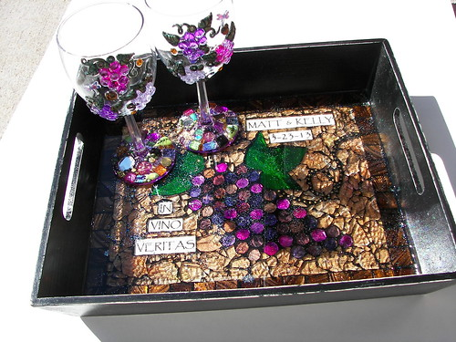 Wedding Commission Wine glasses and tray