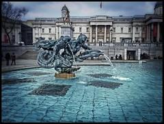trafalgar fountain (hxsaint08) Tags: blue london water pool bronze square gallery trafalgar