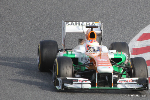 Paul Di Resta in the Force India at Formula One Winter Testing, March 2013