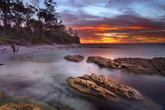 Jervis Bay (stevoarnold) Tags: blue sunset red sea sun seascape color colour beach water beauty rock clouds sunrise sand australia nsw jervisbay