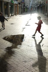 "^""~ (ben ot) Tags: street shadow kids backlight children puddle ombre enfants rue contrejour flaque blois"