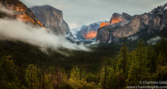 Yosemite Valley, Tunnel View Last Light (Charlotte Hamilton Gibb) Tags: california winter usa fog forest landscape waterfall nationalpark yosemite halfdome yosemitenationalpark elcapitan yosemitevalley tunnelview bridalveilfall yosemitenp charlottegibbphotography charlottegibb