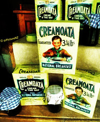 Creamoata - Cream  O' The Oat (Steve Taylor (Photography)) Tags: newzealand christchurch window shop table display muslim cereal cream ground canterbury oatmeal national nz gore jar southisland cloth jam goldmedal lb pound oat fleming breafast 334 guaranteed rolledoats creamoata sergeantdan creamotheoat creamoftheoat