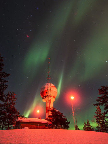 Auroras over a radar station