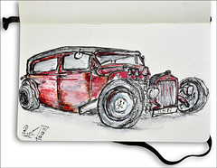 Hot Rod (rafaelmucha) Tags: auto usa hot color moleskine water car pen ink notebook us sketch sketchbook rod draw copic aquarell rotring artpen paralell uscar