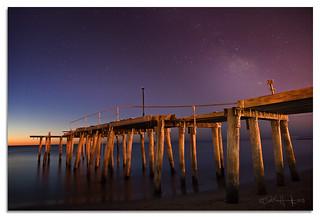 Milky way over old Pier