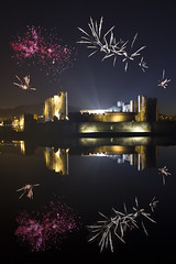 Caerphilly Castle with Machynlleth firework display composite (fillbee) Tags: reflection castle composite photoshop fireworks layers moat caerphilly walesuk countyboroughofcaerphilly b4600caerphillycountyboroughofcaerphillywalesuk