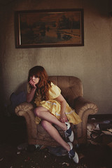 (yyellowbird) Tags: house selfportrait abandoned girl illinois chair bass lolita cari saddleshoes