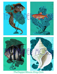 Sea Life Tags Watermark (deniselynch2) Tags: printable sea life gift tags card making vintage jewelry holder digital collage decoupage seahorse seashell shell fish salmon commercial use instant download d lynch denise the dapper mouse