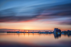 Sunset at Bonavista Harbour, Newfoundland (angie_1964) Tags: bonavista harbour harbor nl newfoundland sunset nikond800e longexposure canada boats dock color colour sky clouds sea water explore