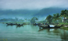 countryside (vy.vy) Tags: landscape boat water lake lagoon morning dawn daybreak mist reflection blue vietnam naturallight outdoor