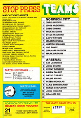 Norwich City vs Arsenal - 1981 - Back Cover Page (The Sky Strikers) Tags: norwich city arsenal football league division one carrow road official match day magazine 30p