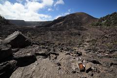 playing with scale (1600 Squirrels) Tags: 1600squirrels photo 5dii lenstagged samyang14f28 kilauea iki crater trail volcano volcanoesnationalpark thebigisland hawaiicounty hawaii usa trailmarker hiker tonemapped hawaiivolcanoesnationalpark havo