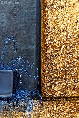 Blue & Gold (nathaliedunaigre) Tags: fontaine eau water bleu blue or gold dor golden macro drops gouttelettes fountain composition abstract details dtails