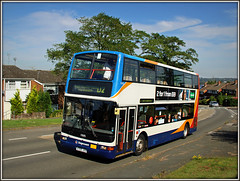The best bus in town..... (Jason 87030) Tags: stagecoach dennis trident plaxton president x705jvv 17695 southbrook admiralsway estate daventry northants road northamptonshire friednly nice lady driver transport doubledecker august 2016 vehicle bum shorts passengers scene hill specsavers girl trees climb houses town