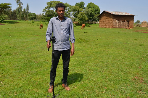 Student Media Grantee Menychle in a Field in Amhara Region of Ethiopia