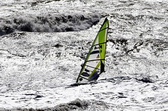 A daring soul. (pstone646) Tags: sea rough nature water windsurfer people sport sussex camber