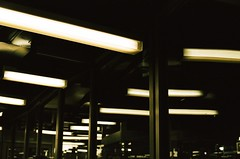 Overhead (Derek Mindler) Tags: film 35mm fuji fujifilm fujiframes fujiframez stills artsy color green framing composition dark new york city subway port authority terminal travel florescent train bus commuting
