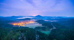 Jetrichovice Ceske Svycarsko/Czech Switzerland (Jan Malkovsky) Tags: green sunrise fog village mesto czechswitzerland ceskesvycarsko sazko germany czechrepublic light longexposure clouds field fields purple forest sandstone canon tokina canon70d travel landscapephotography czechnature motherearth yellow bluehour mist fall season