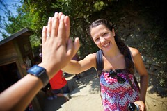 High-Five (cookedphotos) Tags: canon 5dmarkii travel italy cinqueterre trail hike hiking woman girl brunette highfive hands celebrate congrats congratulations happy smile
