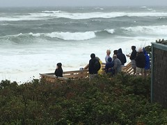 Storm Watchers at Nauset Light Beach (brucetopher) Tags: water ocean sea hermine storm saltater raging hurricane tropicalstorm tropical angry gale wave waves surf spray