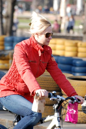 Blonde on bike ©  Andrey